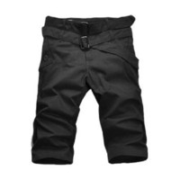 Allegra K Men Multi Pockets Belted Zip Fly Half Pants Shorts Black