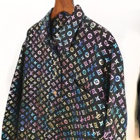 LV Louis vuitton fashion sells men's leyser reflective printed long-sleeved shirts with stand-up collars High quality
