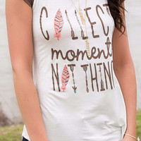 Collect Moments Not Things Short Sleeve Brown Baseball Graphic Tee