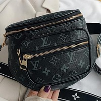 Bunchsun LV New fashion monogram print leather shoulder bag crossbody bag Black