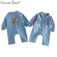 Humor Bear Baby Girl clothes 2018 Infant Clothes Baby Boy clothes Covered Button Design Baby Long Sleeve Jumpsuits