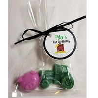 Farm Baby Shower Favor - Tractor & pigs for Circus, Jungle or Zoo Themed Baby Shower or Birthday Party Favor with Tags - Pack of 10