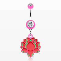 zzz-Bright Lotus Belly Button Ring
