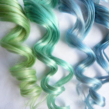 MERMAID Human Hair Extensions : Clip In Hair Extensions, Blue Hair Extensions, Ombre Hair, Green Hair Extensions
