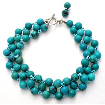 """Turquoise Bead Bracelet Sterling Silver 8"""""""