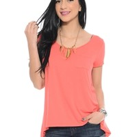 Coral Sheer You Back Short Sleeve Tee   $10   Cheap Trendy Blouses Chic Discount Fashion for Women