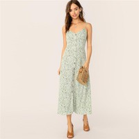 Boho Button Front Ditsy Flora Print Slip Cami Long Dress Women Multicolor Fit and Flare Straps Elegant Dresses