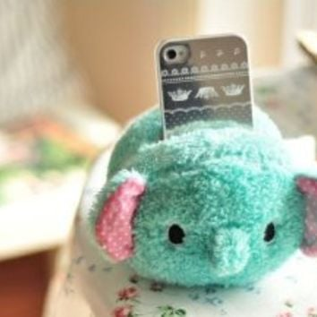 Cute Lovely Plush Mobile Cell Phone iPhone iPod touch Desktop Office Holder (Green elephant)
