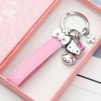 Hello Kitty Key Chain Ring Leather KeyChain Women Metal KT Key Ring for Car Key Chains Holder Charm Llavero Bag Accessories Gift