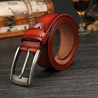 Men's belts fashion 100% cowhide genuine leather for Male Straps pin Buckles Waistband fancy vintage jeans