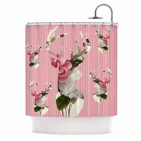 """Suzanne Carter """"Floral Deer"""" Pink White Shower Curtain"""