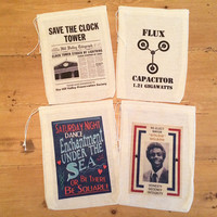 4 Back to the Future Party Favor Bags. 5x7 Drawstring Birthday Gift Basket Bags Movie Favors