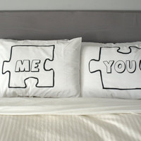 Puzzle Piece Pillow Case For Weddings, Couples, Love Pillowcases, You and Me, Pillows