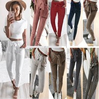 Strap Belt Women Mid Waist 9/10 Pencil Pants