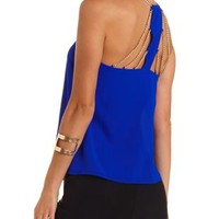 Chain-Embellished Swing Halter Top by Charlotte Russe - Bright Cobalt