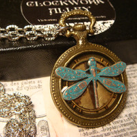 Dragonfly Pocket Watch Style Steampunk Pendant Necklace (1833)