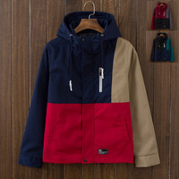 Casual Men's Slim Fit Quilted Lightweight Patchwork Sports Jackets with Hood