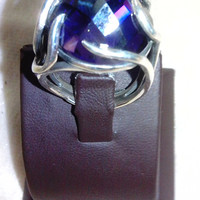 Amethyst.  Over the Movee.  Antiquing rings style. Natural stone