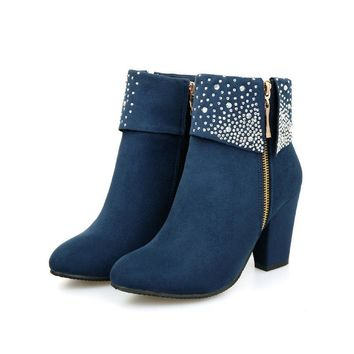 Hot Deal On Sale Winter Plus Size Rhinestone Matte Hot Sale Shoes Boots [11144726791]