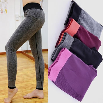 Women Yoga Sports Elastic Pants For Exercise Tights Fitness Running Trousers Slim Leggings = 1933347012