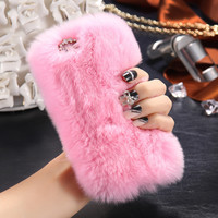 For iPhone 7 Cute Furry Cover Fashion Rabbit Hair Crystal Diamond Case For iPhone 6 6S Plus 4.7 5.5 Slim Warm Fluffy Phone Cases