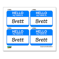 Brett Hello My Name Is - Sheet of 4 Stickers