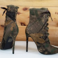 Lilly Green Camo Point Toe Frayed Edge High Heel Ankle Boot Shoe