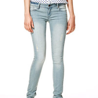 Taylor Low-Rise Skinny Jeans in Tinted Blue - Medium Blue