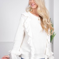 Bradshaw Ruffle Cream Sweater