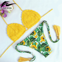 summer Swimwear fashion beach Knitted Bathing Suit Handmade bikinis women Crochet push up Bikini set crochet Brazilian Swimsuit