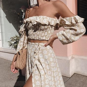 Twist Off Shoulder Casual Women Dress Ruffle Beach Dresses Female Floral Print Dress Suit