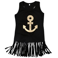 Anchor Sleeveless Kids Baby Girls Toddler Tassel Dress +Headband Casual Party Wedding