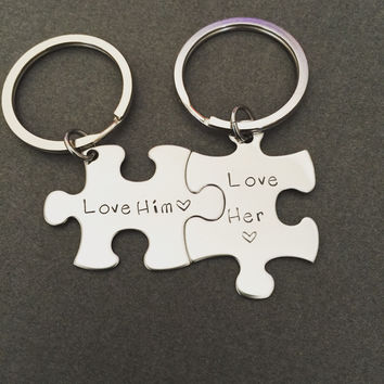 Love him love her keychains, personalized keychains, couples keychains, couples gift , Anniversary Gift