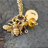 Personalized Queen Bee Charm Necklace Personalized Necklace Queen Bee jewelry bridesmaid jewelry personalized charm necklace