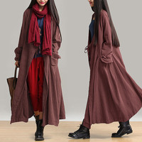 women linen coat plus size jacket loose fitting coat