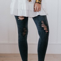 Distressed Denim Leggings - Charcoal