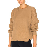 Stella McCartney Ribbed Crew Neck Sweater in Sable | FWRD
