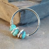 18 or 20 Gauge Turquoise Gold Nose Hoop Ring or Cartilage Hoop Earring