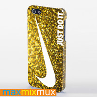 Sparkle Glitter Just Do It Gold iPhone 4/4S, 5/5S, 5C Series Full Wrap Case