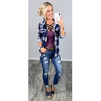 Penny Plaid Flannel Top - Navy/Pink/Plum