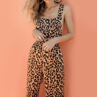 Backless Harem Jumpsuit Leopard Print Jumpsuit Rompers