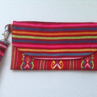 Handmade Red Multi Colored Mexican Fabric Clutch