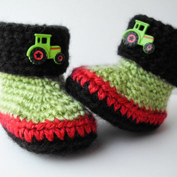 Crochet Baby Booties - John Deere Tractor Inspired - Green Red and Black Baby Boy Booties - Baby Shoes - Baby Boy Clothes