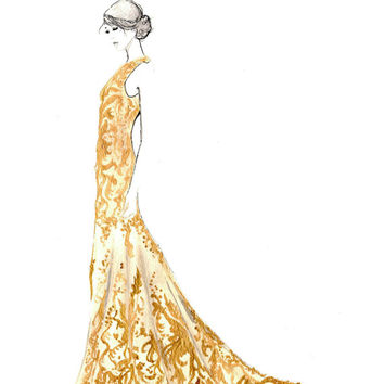 Print from original watercolor and pen fashion illustration by Jessica Durrant titled, Mad About McQueen