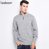Autumn Winter Men Knitted Sweater Stand Collar With Zipper Slim Fit Pullover Men Sweaters For Men