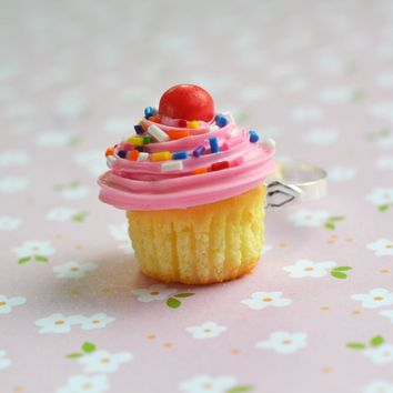 Pink Cupcake Ring, Polymer Clay Food Jewelry