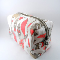 Coral Feather Metal Zipper Lined Makeup Bag, Gadget Case Pencil Case, Zippered, Cosmetics, For Her Under 20