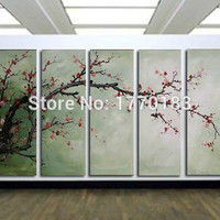 The Cherry blossoms,5 Panels Handmade Huge chinese decorative Flower Oil Painting on Canvas Wall Art japanese style
