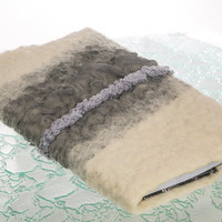 Grey Organza raw wool Tie-up Felted covers with notebook,  refillable