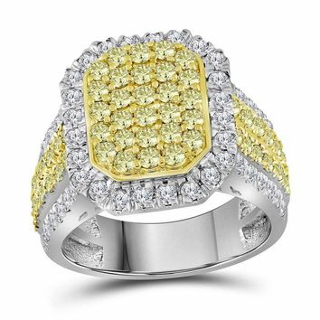 14kt White Gold Women's Round Canary Yellow Diamond Rectangle Cluster Ring 2-1-3 Cttw - FREE Shipping (US/CAN)